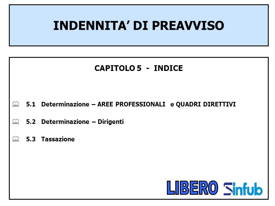 INDENNITA DI PREAVVISO CAPITOLO 5 - INDICE 5.1 Determinazione – AREE PROFESSIONALI e QUADRI DIRETTIVI 5.2 Determinazione – Dirigenti 5.3 Tassazione