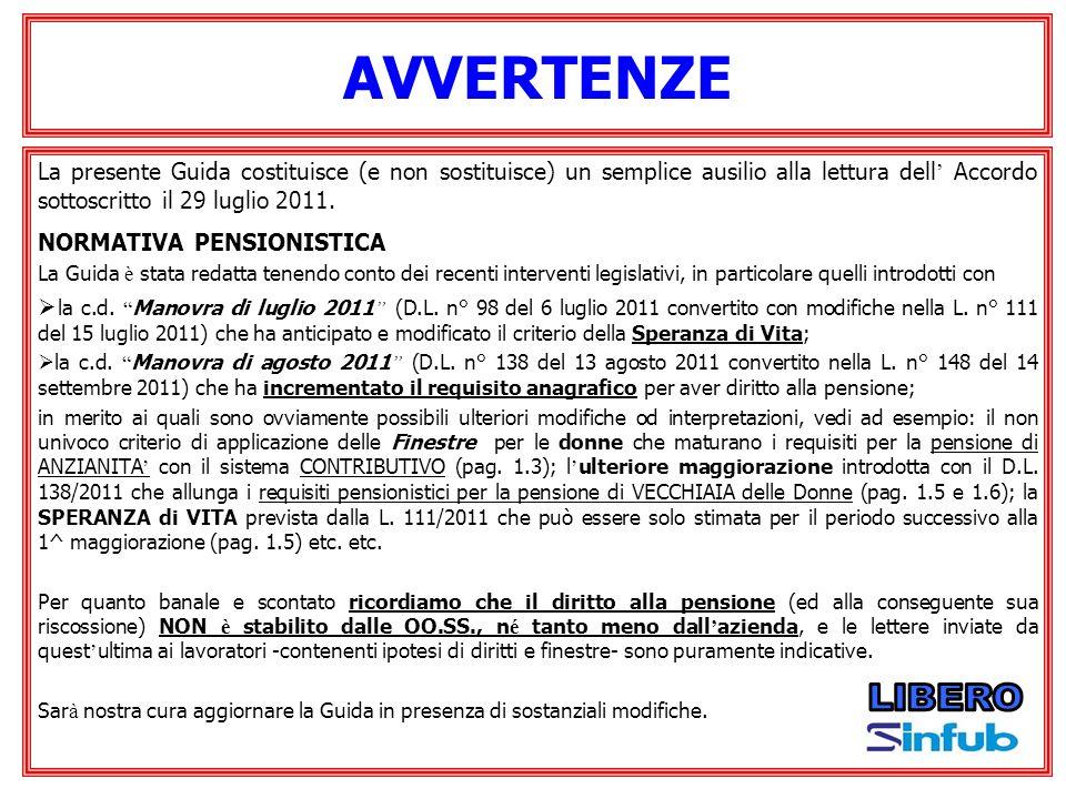 AVVERTENZE La presente Guida costituisce (e non sostituisce) un semplice ausilio alla lettura dell Accordo sottoscritto il 29 luglio 2011. NORMATIVA P