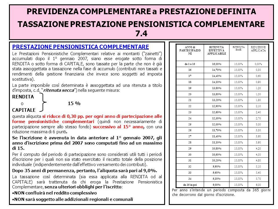 PREVIDENZA COMPLEMENTARE a PRESTAZIONE DEFINITA TASSAZIONE PRESTAZIONE PENSIONISTICA COMPLEMENTARE 7.4 PRESTAZIONE PENSIONISTICA COMPLEMENTARE Le Pres