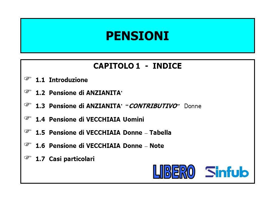 PENSIONI CAPITOLO 1 - INDICE 1.1 Introduzione 1.2 Pensione di ANZIANITA 1.3 Pensione di ANZIANITA CONTRIBUTIVO Donne 1.4 Pensione di VECCHIAIA Uomini
