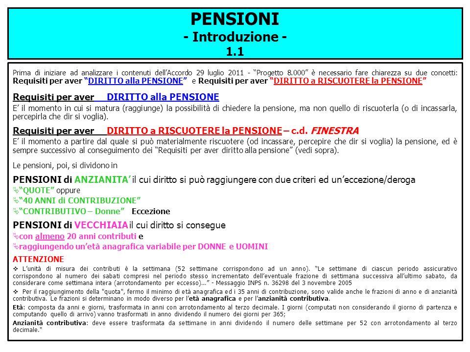 PENSIONI - Introduzione - 1.1 Prima di iniziare ad analizzare i contenuti dellAccordo 29 luglio 2011 - Progetto 8.000 è necessario fare chiarezza su d