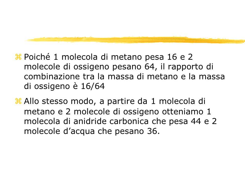 zQuindi dai rapporti stechiometrici si può passare, consultando la tavola periodica degli elementi, ai rapporti tra le masse che sono utili per fare i calcoli stechiometrici zNel nostro esempio, il rapporto massa metano/massa ossigeno è 16/64, il rapporto massa metano/massa anidride carbonica è 16/44 e così via.