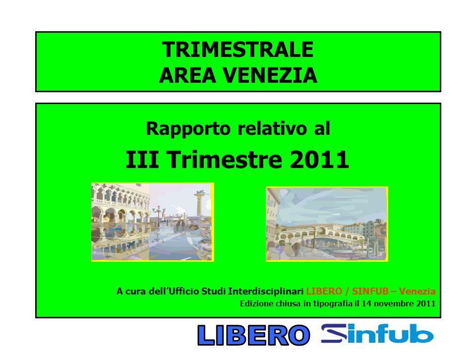 TRIMESTRALE AREA VENEZIA Rapporto relativo al III Trimestre 2011 A cura dellUfficio Studi Interdisciplinari LIBERO / SINFUB – Venezia Edizione chiusa in tipografia il 14 novembre 2011