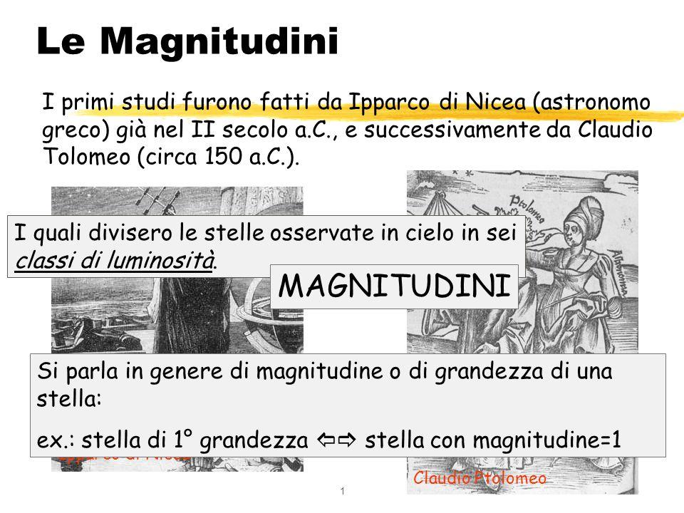 15 Le Magnitudini I primi studi furono fatti da Ipparco di Nicea (astronomo greco) già nel II secolo a.C., e successivamente da Claudio Tolomeo (circa
