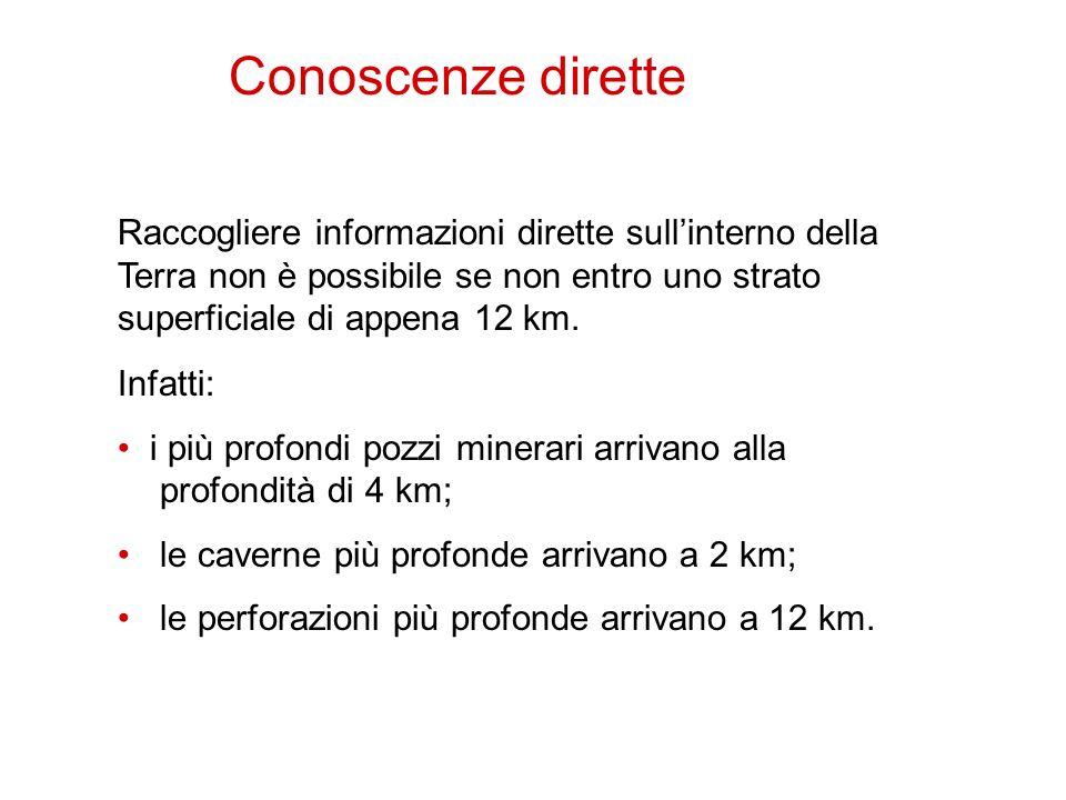 1 Raccogliere informazioni dirette sullinterno della Terra non è possibile se non entro uno strato superficiale di appena 12 km. Infatti: i più profon