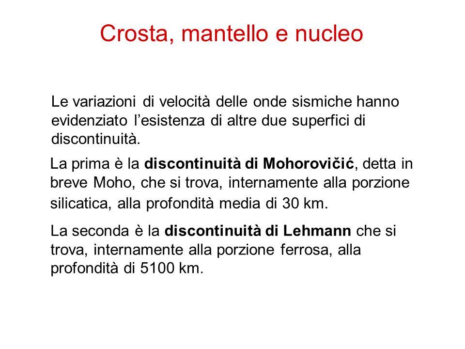 13 La prima è la discontinuità di Mohorovičić, detta in breve Moho, che si trova, internamente alla porzione silicatica, alla profondità media di 30 k
