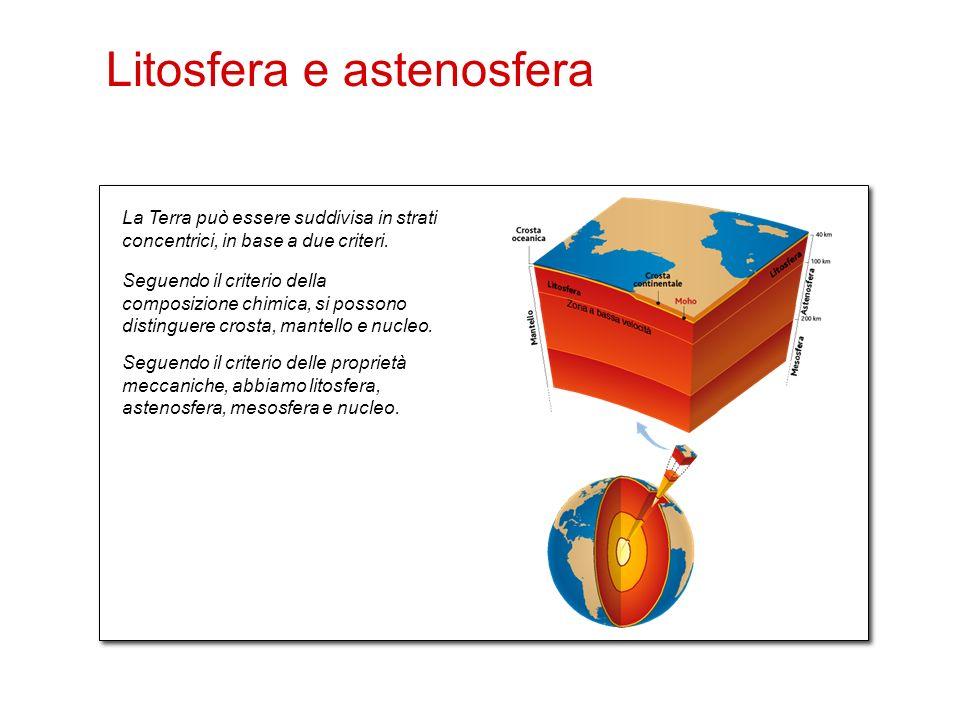 24 La Terra può essere suddivisa in strati concentrici, in base a due criteri. Seguendo il criterio della composizione chimica, si possono distinguere