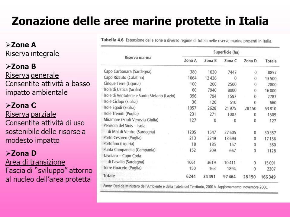 Zonazione delle aree marine protette in Italia Zone A Riserva integrale Zona B Riserva generale Consentite attività a basso impatto ambientale Zona C Riserva parziale Consentite attività di uso sostenibile delle risorse a modesto impatto Zona D Area di transizione Fascia di sviluppo attorno al nucleo dellarea protetta