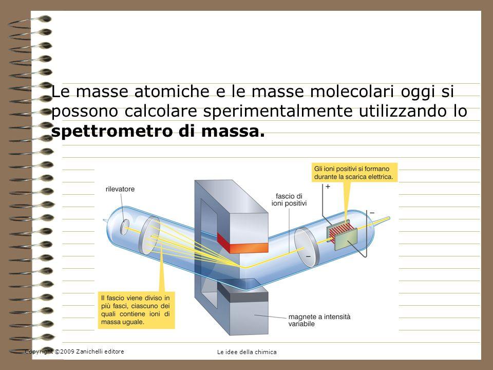 Copyright ©2009 Zanichelli editore Le idee della chimica 4.La massa atomica e la massa molecolare Le masse atomiche e le masse molecolari oggi si possono calcolare sperimentalmente utilizzando lo spettrometro di massa.