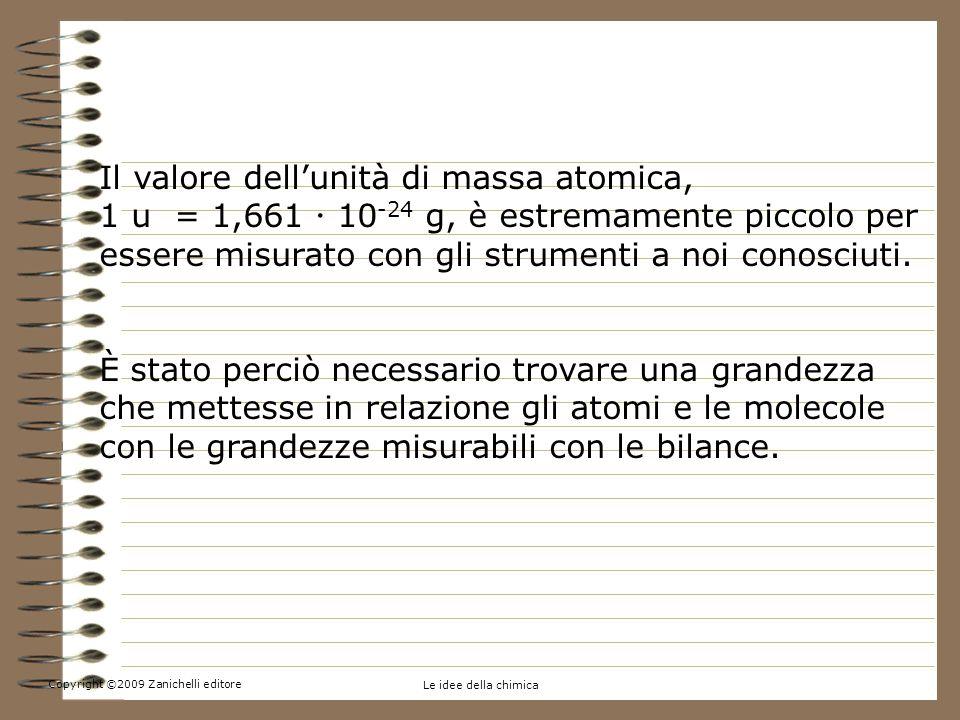 Copyright ©2009 Zanichelli editore Le idee della chimica 5.Contare per moli Il valore dellunità di massa atomica, 1 u = 1,661 10 -24 g, è estremamente piccolo per essere misurato con gli strumenti a noi conosciuti.