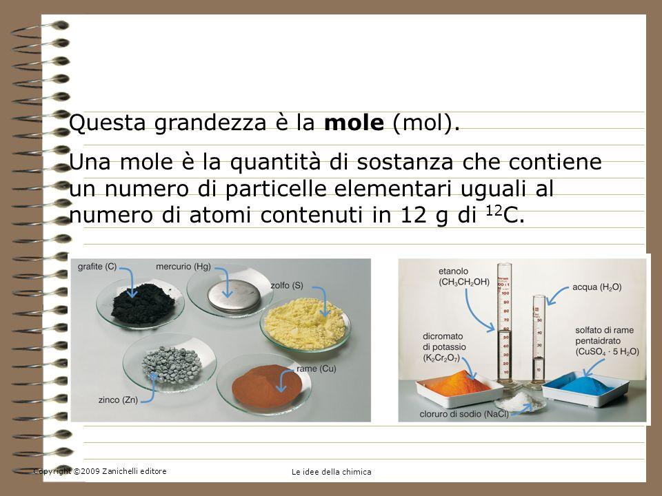 Copyright ©2009 Zanichelli editore Le idee della chimica 5.Contare per moli Questa grandezza è la mole (mol). Una mole è la quantità di sostanza che c