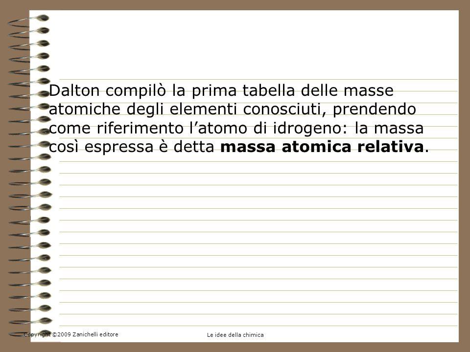 Copyright ©2009 Zanichelli editore Le idee della chimica 1.La massa di atomi e molecole: un po di storia Dalton compilò la prima tabella delle masse atomiche degli elementi conosciuti, prendendo come riferimento latomo di idrogeno: la massa così espressa è detta massa atomica relativa.