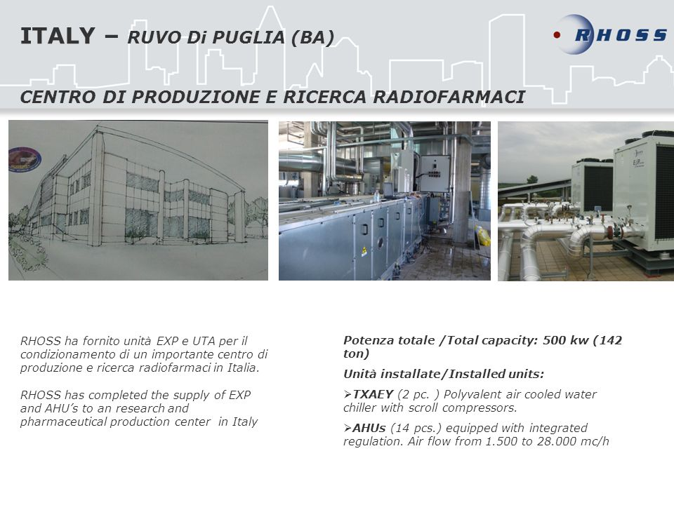 ITALY – RUVO Di PUGLIA (BA) RHOSS ha fornito unità EXP e UTA per il condizionamento di un importante centro di produzione e ricerca radiofarmaci in It