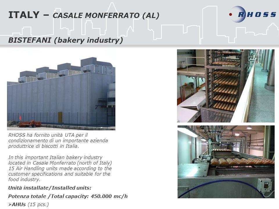 ITALY – CASALE MONFERRATO (AL) RHOSS ha fornito unità UTA per il condizionamento di un importante azienda produttrice di biscotti in Italia. In this i