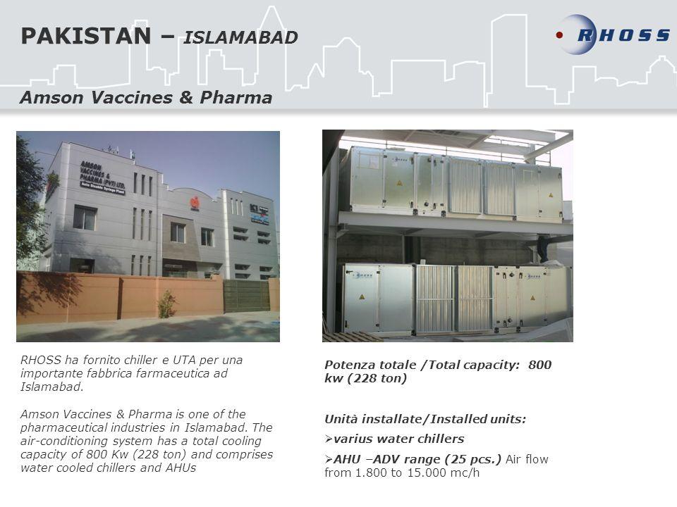 PAKISTAN – ISLAMABAD RHOSS ha fornito chiller e UTA per una importante fabbrica farmaceutica ad Islamabad. Amson Vaccines & Pharma is one of the pharm