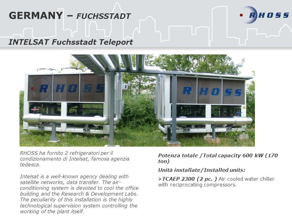 GERMANY – FUCHSSTADT RHOSS ha fornito 2 refrigeratori per il condizionamento di Intelsat, famosa agenzia tedesca. Intelsat is a well-known agency deal