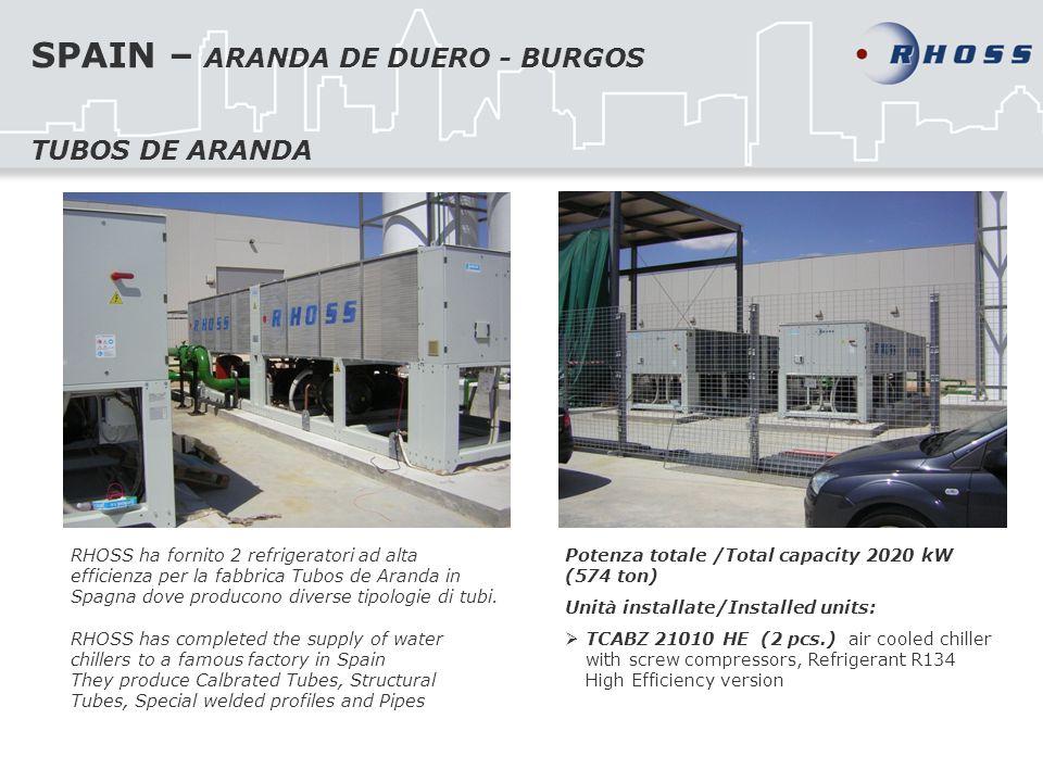 SPAIN – ARANDA DE DUERO - BURGOS RHOSS ha fornito 2 refrigeratori ad alta efficienza per la fabbrica Tubos de Aranda in Spagna dove producono diverse