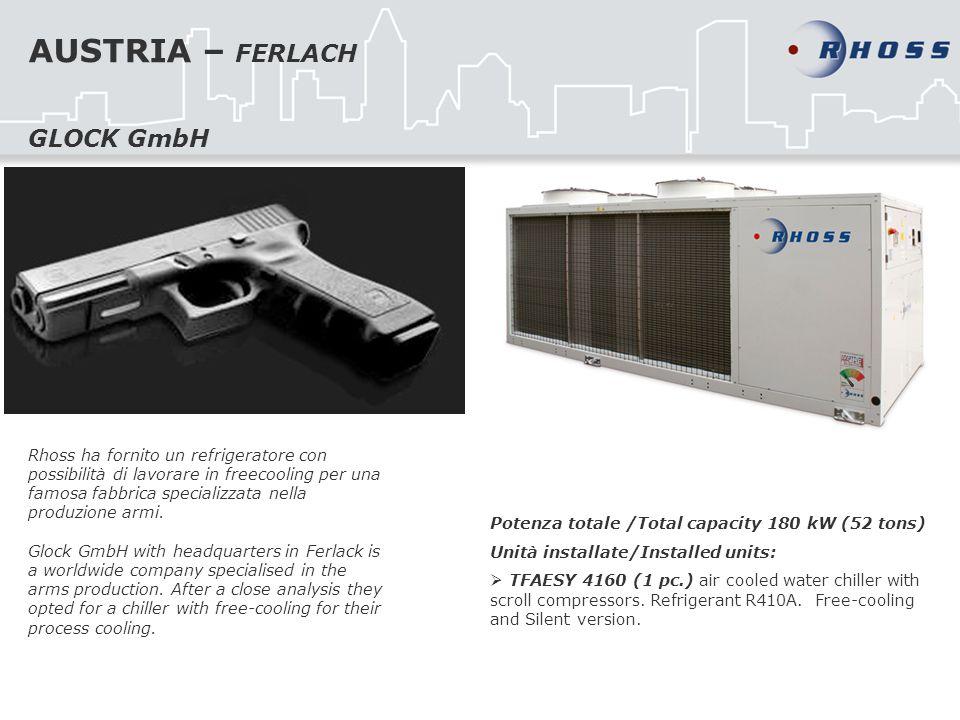 AUSTRIA – FERLACH Rhoss ha fornito un refrigeratore con possibilità di lavorare in freecooling per una famosa fabbrica specializzata nella produzione