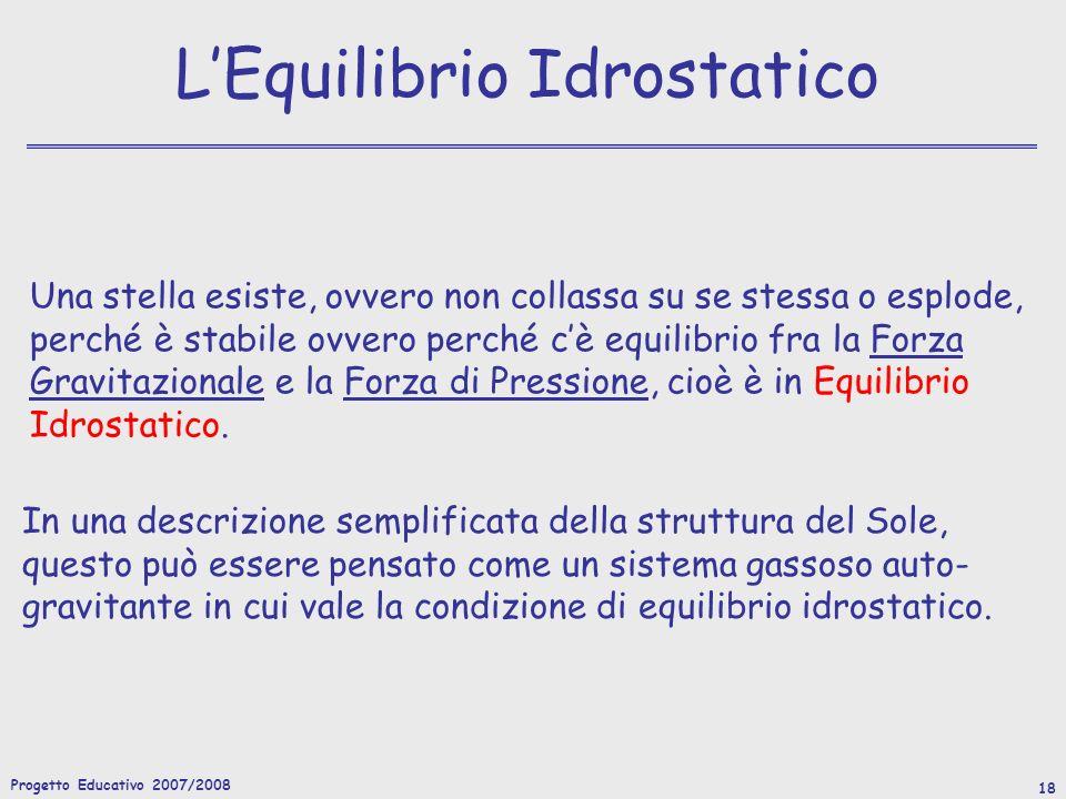Progetto Educativo 2007/2008 19 Sorgenti di Energia QUALI SONO LE SORGENTI DI ENERGIA DI UNA STELLA.