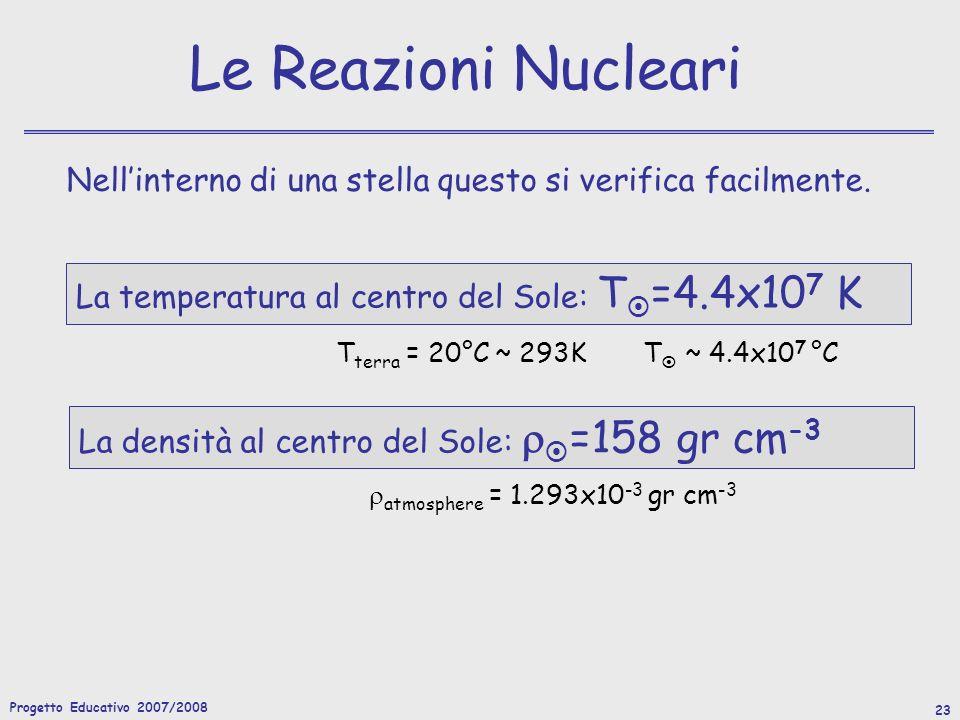 Progetto Educativo 2007/2008 24 Le Sorgenti Nucleari Vediamo quanta energia può essere prodotta da una reazione nucleare, e se questa è sufficiente a giustificare il tempo di vita di una stella (almeno 4Gyr nel caso del Sole).