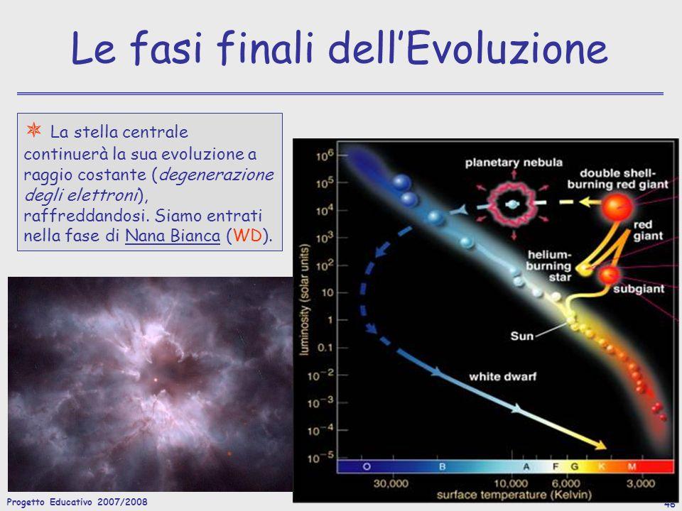 Progetto Educativo 2007/2008 47 Le fasi finali dellEvoluzione Le stelle con massa iniziale M i >5M sono in grado di innescare il bruciamento del C, e quelle con massa M i >12M sono possono accendere anche gli elementi più pesanti del C.