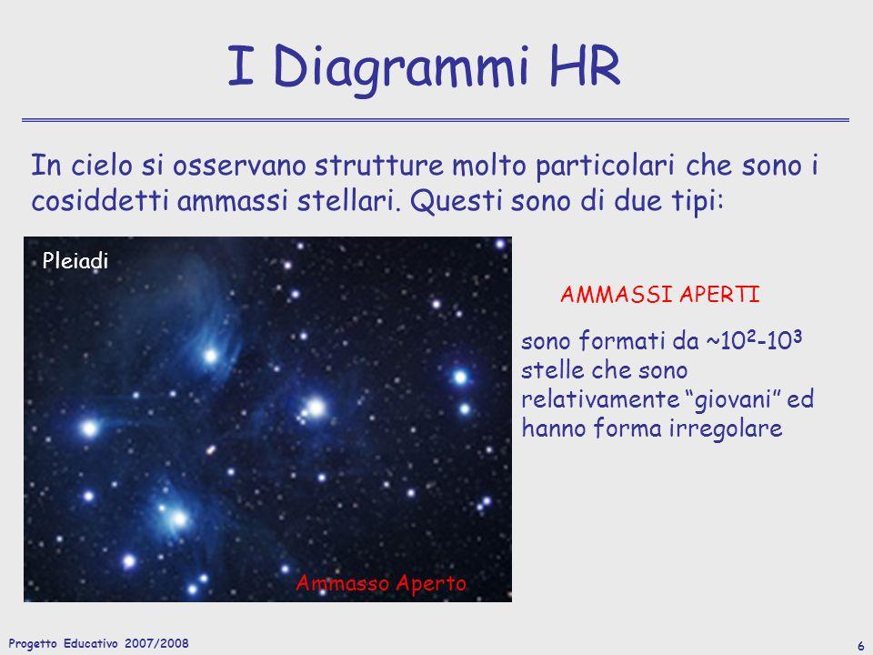 Progetto Educativo 2007/2008 7 I Diagrammi HR In cielo si osservano strutture molto particolari che sono i cosiddetti ammassi stellari.