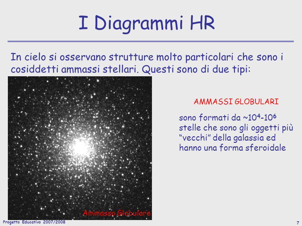 Progetto Educativo 2007/2008 8 I Diagrammi HR Le stelle in queste aggregazioni sono caratterizzate dallessere tutte più o meno alla stessa distanza (modulo di distanza ~ costante), quindi possiamo costruirne il diagramma HR senza dover calcolare la magnitudine assoluta.