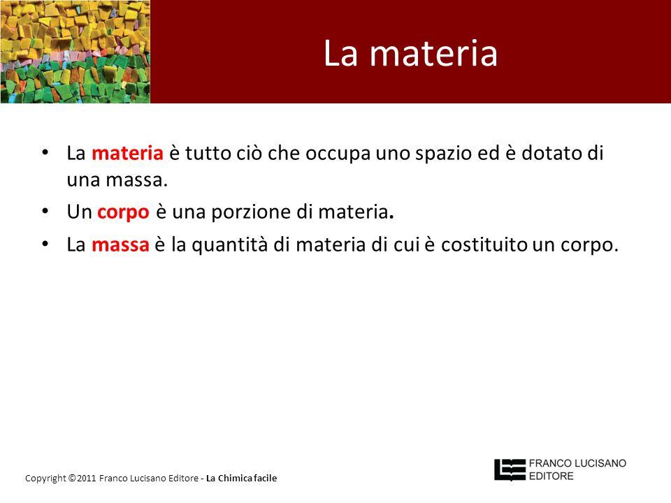 La materia La materia è tutto ciò che occupa uno spazio ed è dotato di una massa. Un corpo è una porzione di materia. La massa è la quantità di materi