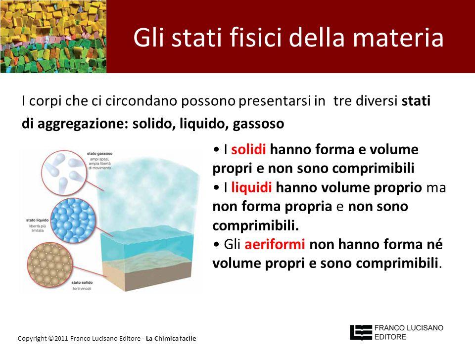 Gli stati fisici della materia I corpi che ci circondano possono presentarsi in tre diversi stati di aggregazione: solido, liquido, gassoso I solidi h