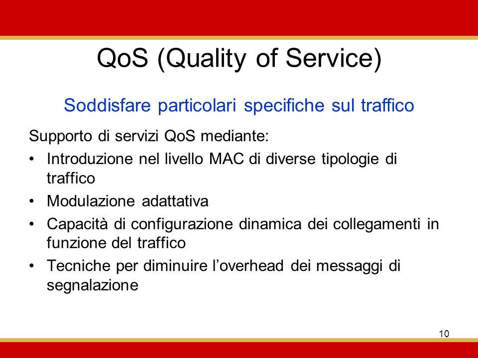 10 QoS (Quality of Service) Supporto di servizi QoS mediante: Introduzione nel livello MAC di diverse tipologie di traffico Modulazione adattativa Capacità di configurazione dinamica dei collegamenti in funzione del traffico Tecniche per diminuire loverhead dei messaggi di segnalazione Soddisfare particolari specifiche sul traffico