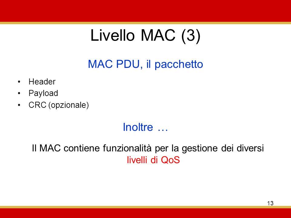13 Livello MAC (3) Header Payload CRC (opzionale) MAC PDU, il pacchetto Inoltre … Il MAC contiene funzionalità per la gestione dei diversi livelli di QoS
