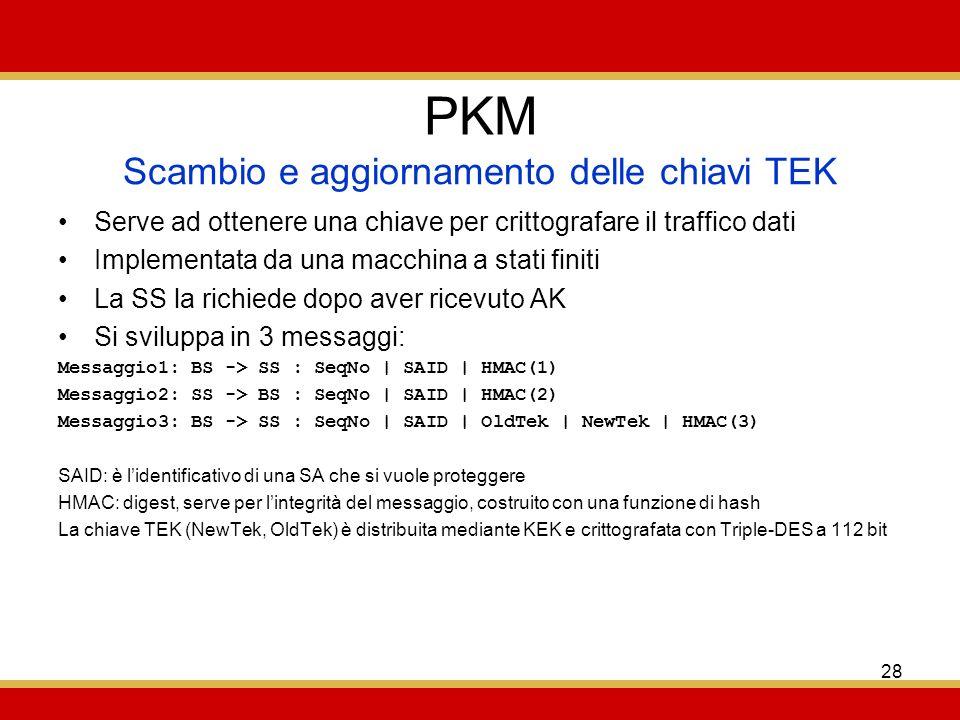 28 PKM Serve ad ottenere una chiave per crittografare il traffico dati Implementata da una macchina a stati finiti La SS la richiede dopo aver ricevuto AK Si sviluppa in 3 messaggi: Messaggio1: BS -> SS : SeqNo | SAID | HMAC(1) Messaggio2: SS -> BS : SeqNo | SAID | HMAC(2) Messaggio3: BS -> SS : SeqNo | SAID | OldTek | NewTek | HMAC(3) SAID: è lidentificativo di una SA che si vuole proteggere HMAC: digest, serve per lintegrità del messaggio, costruito con una funzione di hash La chiave TEK (NewTek, OldTek) è distribuita mediante KEK e crittografata con Triple-DES a 112 bit Scambio e aggiornamento delle chiavi TEK