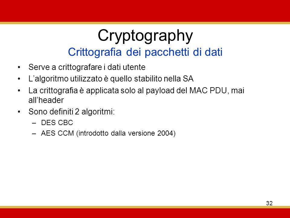 32 Cryptography Serve a crittografare i dati utente Lalgoritmo utilizzato è quello stabilito nella SA La crittografia è applicata solo al payload del MAC PDU, mai allheader Sono definiti 2 algoritmi: –DES CBC –AES CCM (introdotto dalla versione 2004) Crittografia dei pacchetti di dati