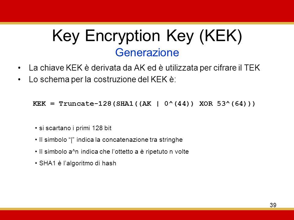 39 Key Encryption Key (KEK) La chiave KEK è derivata da AK ed è utilizzata per cifrare il TEK Lo schema per la costruzione del KEK è: Generazione KEK = Truncate-128(SHA1((AK | 0^(44)) XOR 53^(64))) si scartano i primi 128 bit Il simbolo | indica la concatenazione tra stringhe Il simbolo a^n indica che lottetto a è ripetuto n volte SHA1 è lalgoritmo di hash