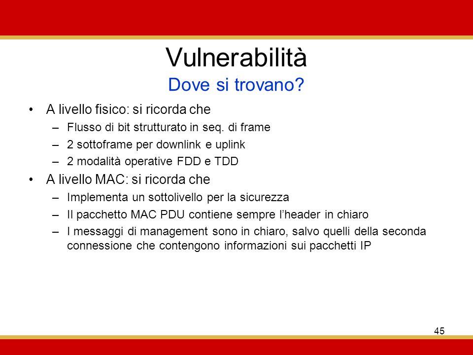 45 Vulnerabilità A livello fisico: si ricorda che –Flusso di bit strutturato in seq.