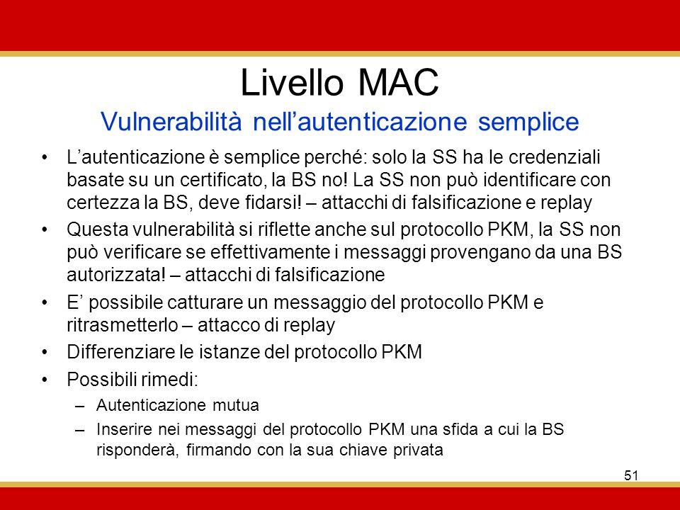 51 Livello MAC Lautenticazione è semplice perché: solo la SS ha le credenziali basate su un certificato, la BS no.