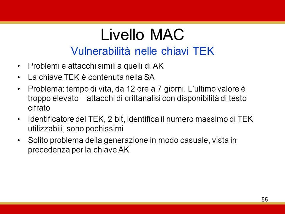 55 Livello MAC Problemi e attacchi simili a quelli di AK La chiave TEK è contenuta nella SA Problema: tempo di vita, da 12 ore a 7 giorni.