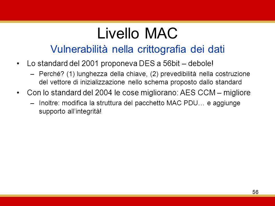 56 Livello MAC Lo standard del 2001 proponeva DES a 56bit – debole.