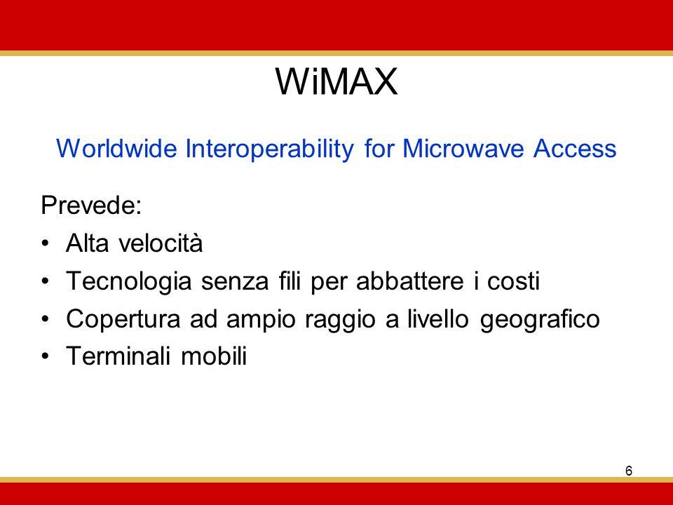 6 WiMAX Prevede: Alta velocità Tecnologia senza fili per abbattere i costi Copertura ad ampio raggio a livello geografico Terminali mobili Worldwide Interoperability for Microwave Access