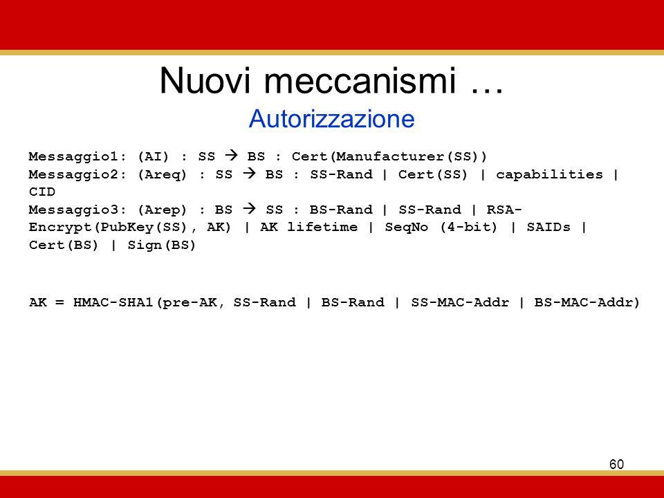 60 Nuovi meccanismi … Autorizzazione Messaggio1: (AI) : SS BS : Cert(Manufacturer(SS)) Messaggio2: (Areq) : SS BS : SS-Rand | Cert(SS) | capabilities | CID Messaggio3: (Arep) : BS SS : BS-Rand | SS-Rand | RSA- Encrypt(PubKey(SS), AK) | AK lifetime | SeqNo (4-bit) | SAIDs | Cert(BS) | Sign(BS) AK = HMAC-SHA1(pre-AK, SS-Rand | BS-Rand | SS-MAC-Addr | BS-MAC-Addr)