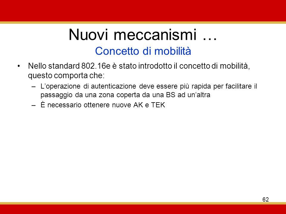 62 Nuovi meccanismi … Nello standard 802.16e è stato introdotto il concetto di mobilità, questo comporta che: –Loperazione di autenticazione deve essere più rapida per facilitare il passaggio da una zona coperta da una BS ad unaltra –È necessario ottenere nuove AK e TEK Concetto di mobilità