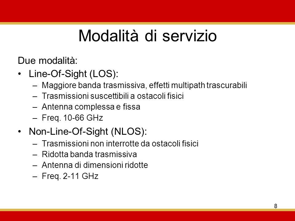 8 Modalità di servizio Due modalità: Line-Of-Sight (LOS): –Maggiore banda trasmissiva, effetti multipath trascurabili –Trasmissioni suscettibili a ostacoli fisici –Antenna complessa e fissa –Freq.