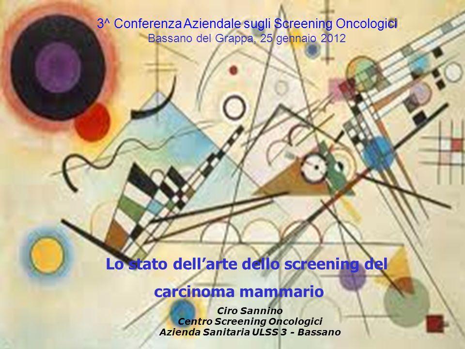 3^ Conferenza Aziendale sugli Screening Oncologici Bassano del Grappa, 25 gennaio 2012 Lo stato dellarte dello screening del carcinoma mammario Ciro S