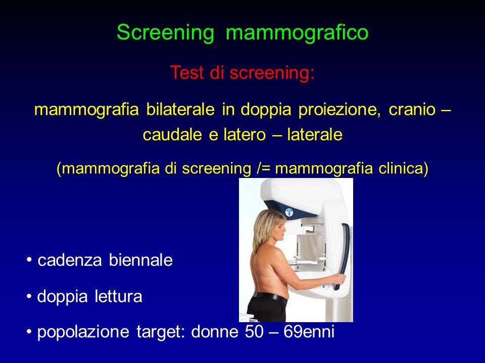 Screening mammografico Test di screening: mammografia bilaterale in doppia proiezione, cranio – caudale e latero – laterale (mammografia di screening
