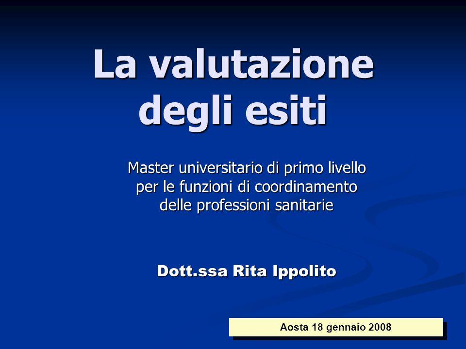 La valutazione degli esiti Master universitario di primo livello per le funzioni di coordinamento delle professioni sanitarie Dott.ssa Rita Ippolito A