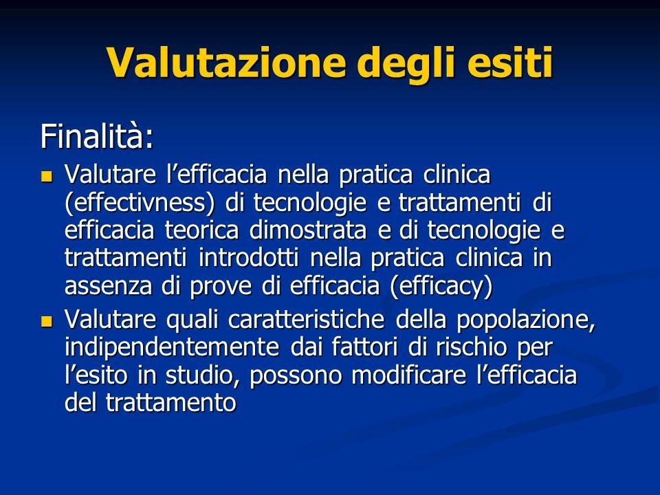Valutazione degli esiti Finalità: Valutare lefficacia nella pratica clinica (effectivness) di tecnologie e trattamenti di efficacia teorica dimostrata