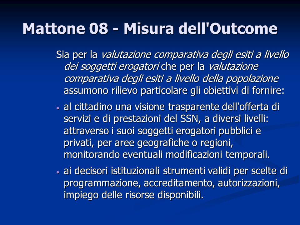 Mattone 08 - Misura dell'Outcome Sia per la valutazione comparativa degli esiti a livello dei soggetti erogatori che per la valutazione comparativa de