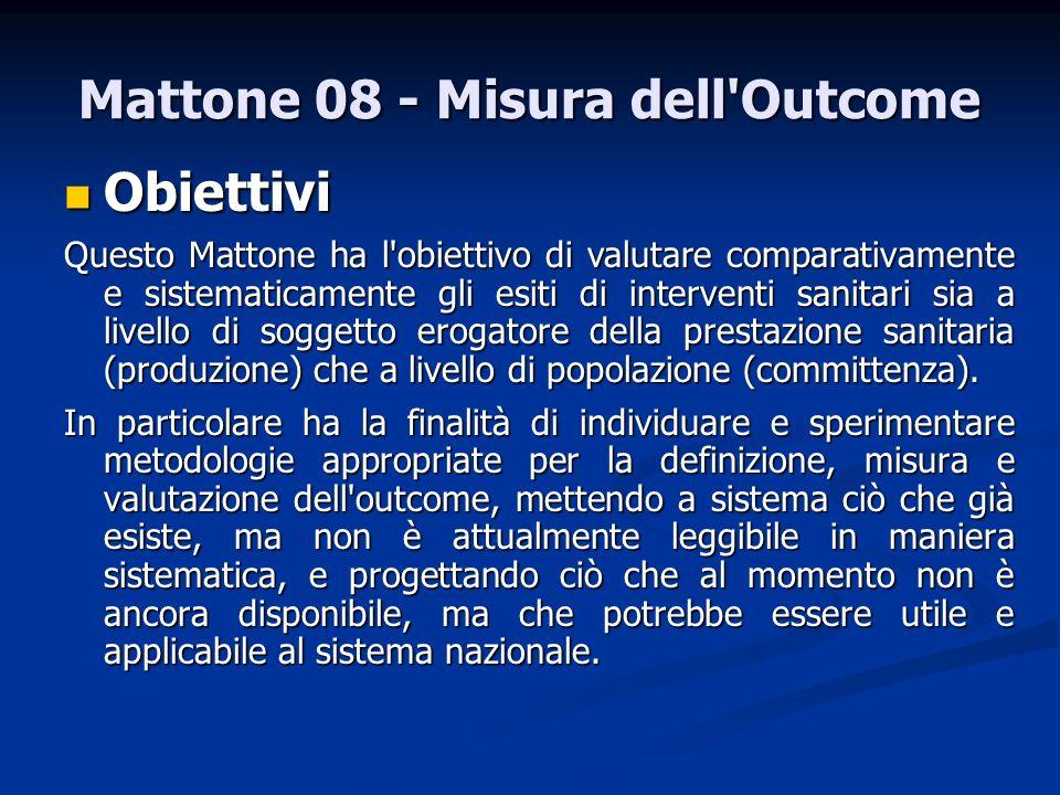 Mattone 08 - Misura dell'Outcome Obiettivi Obiettivi Questo Mattone ha l'obiettivo di valutare comparativamente e sistematicamente gli esiti di interv