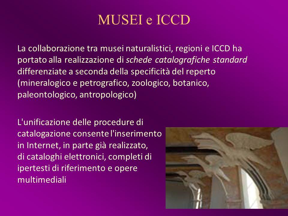 MUSEI e ICCD La collaborazione tra musei naturalistici, regioni e ICCD ha portato alla realizzazione di schede catalografiche standard differenziate a