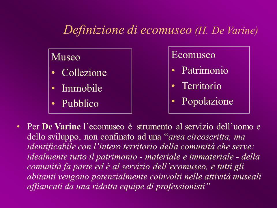 Definizione di ecomuseo (H. De Varine) Museo Collezione Immobile Pubblico Ecomuseo Patrimonio Territorio Popolazione Per De Varine lecomuseo è strumen